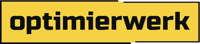 Logo der Werbeagentur und Marketingagentur Optimierwerk. Gelbes Rechteck mit weisser Schrift.